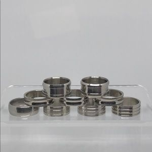 Set of 9 Silver Stainless Steel Rings